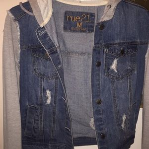 jean jacket , with gray hood and sleeves